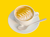 coffee photography object with hot latte art coffee cream foam in vintage coffee cup set white color decoration with stainless steel spoon isolated on yellow caramel background with clipping path