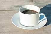 cup of coffee, wooden table