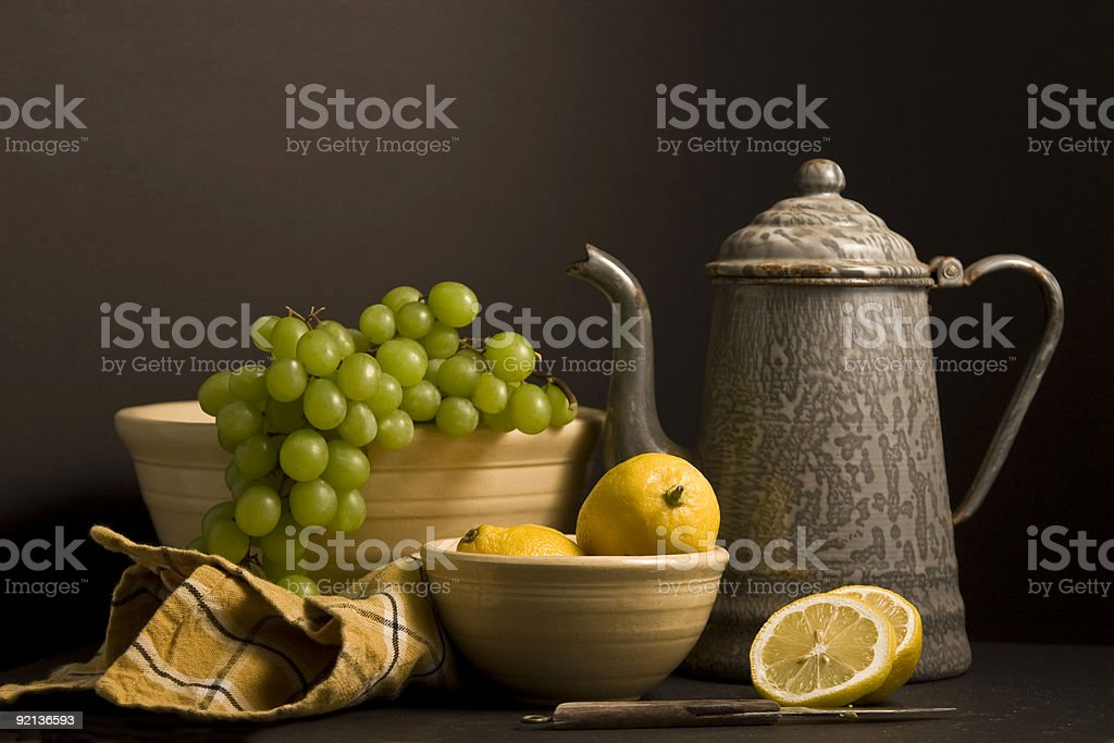 Coffee pot and fruit stock photo