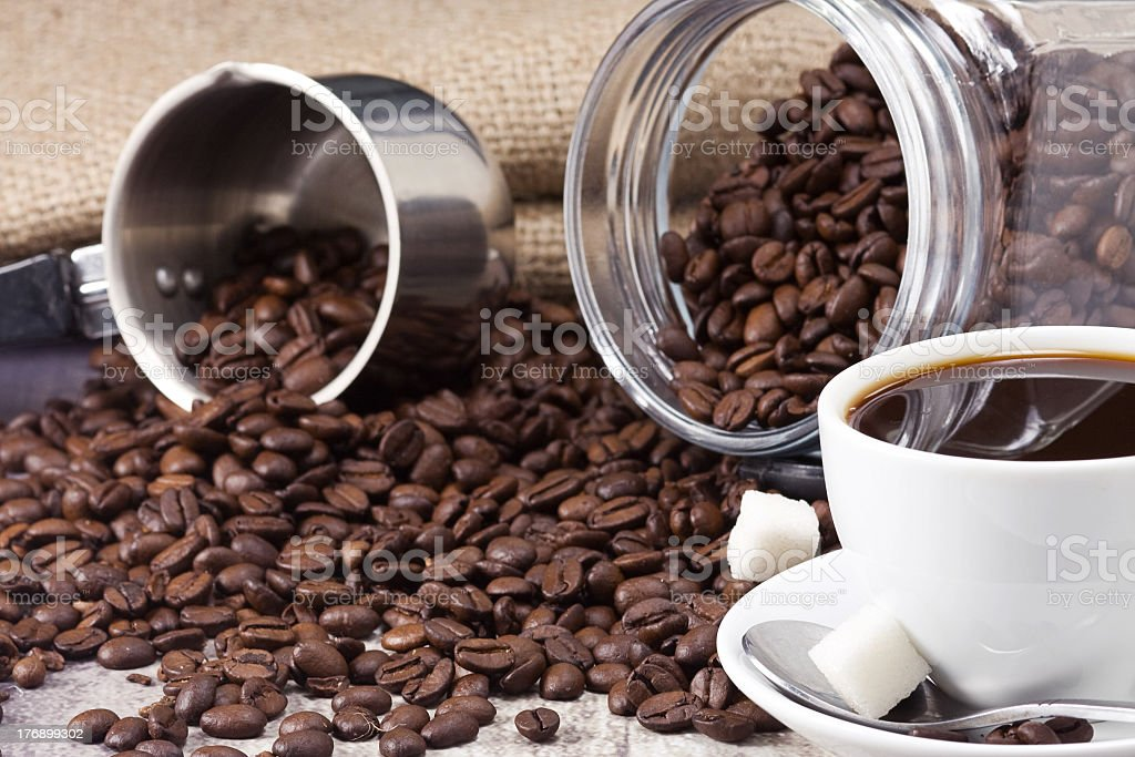 coffee, pot and jar royalty-free stock photo