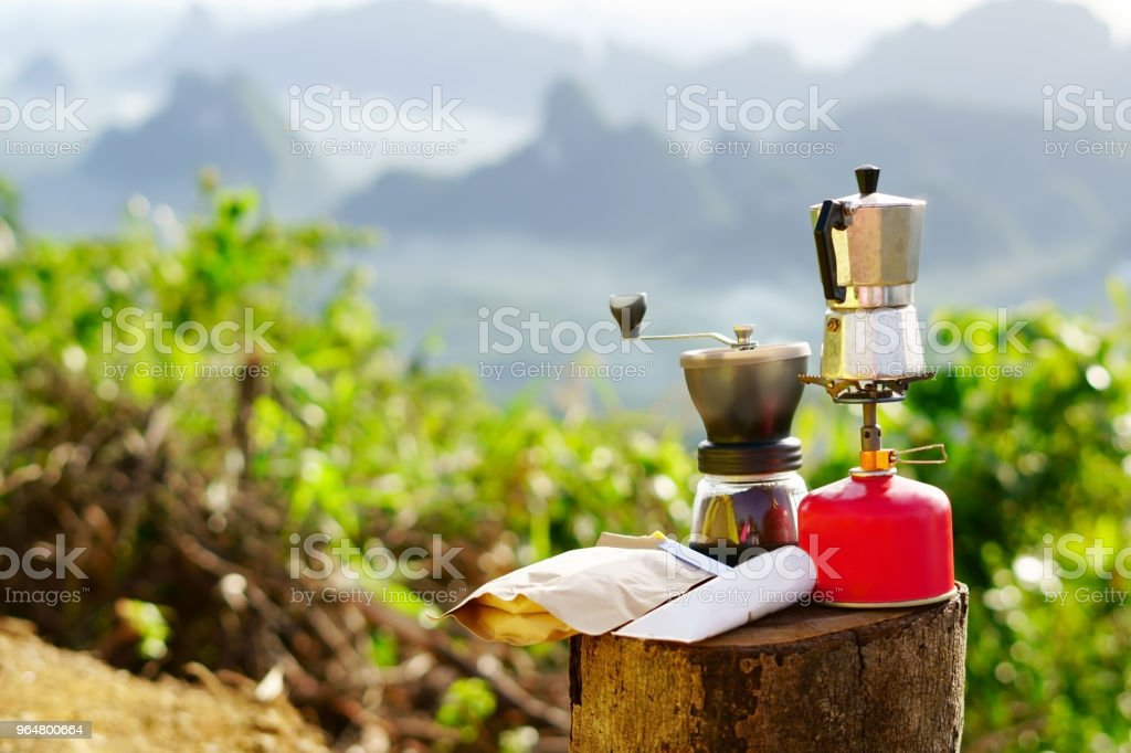 Coffee pot camping in the mountains. royalty-free stock photo