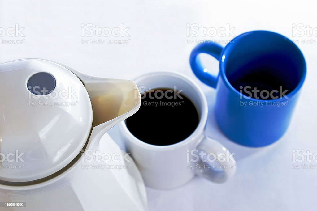 Coffee Pot & Cups royalty-free stock photo
