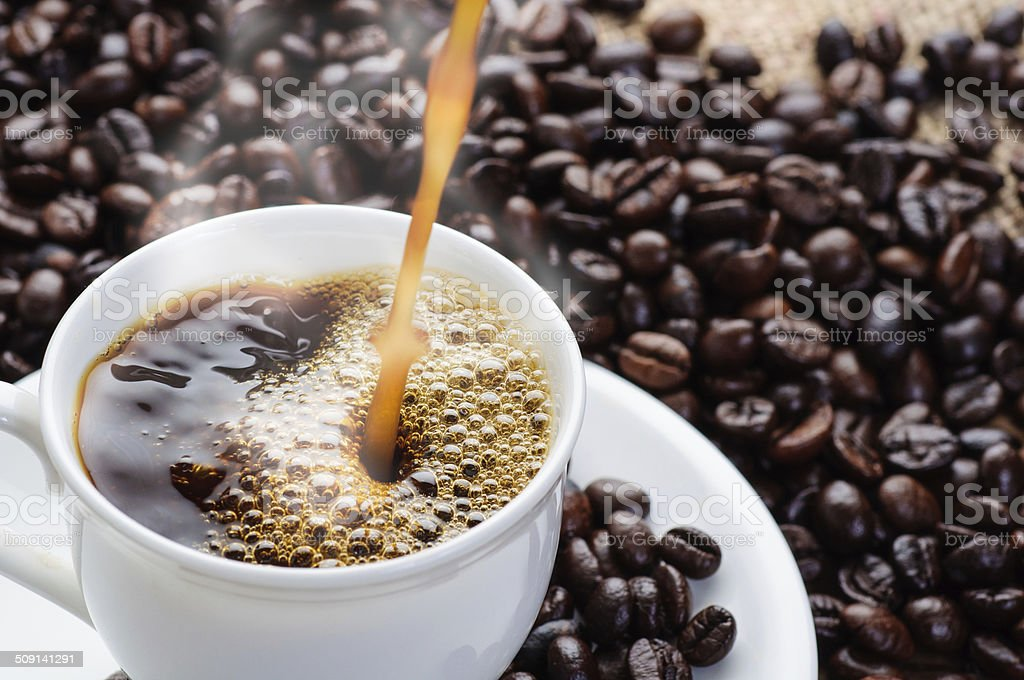 coffee pouring to cup stock photo