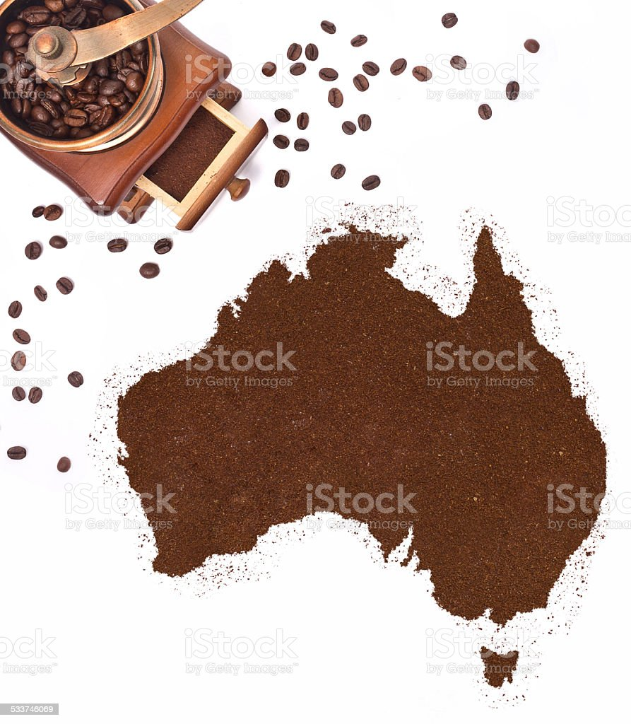 Coffee powder in the shape of Australia.(series) stock photo