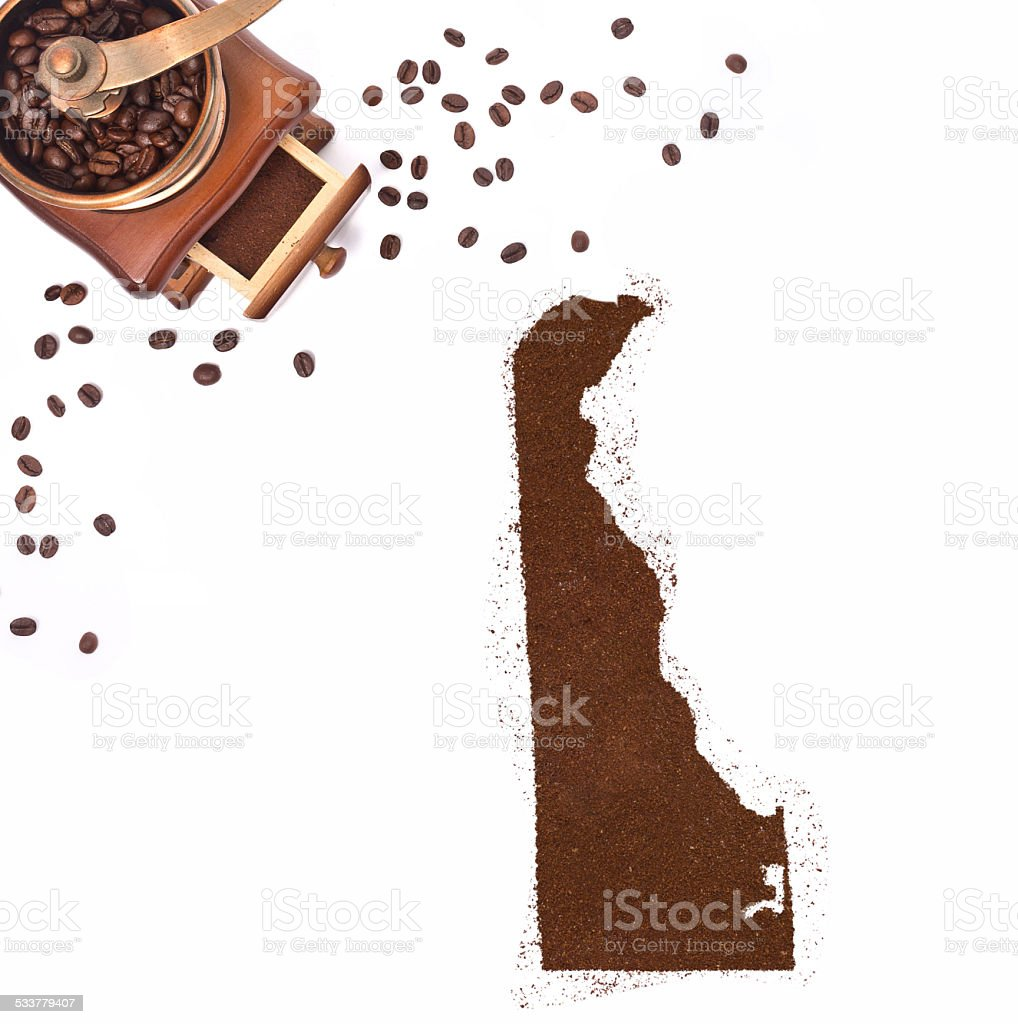 Coffee powder in the shape of Delaware.(series) stock photo