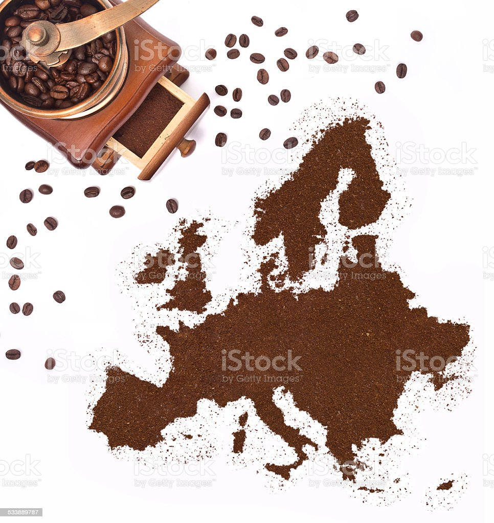 Coffee powder in the shape of Europe.(series) stock photo