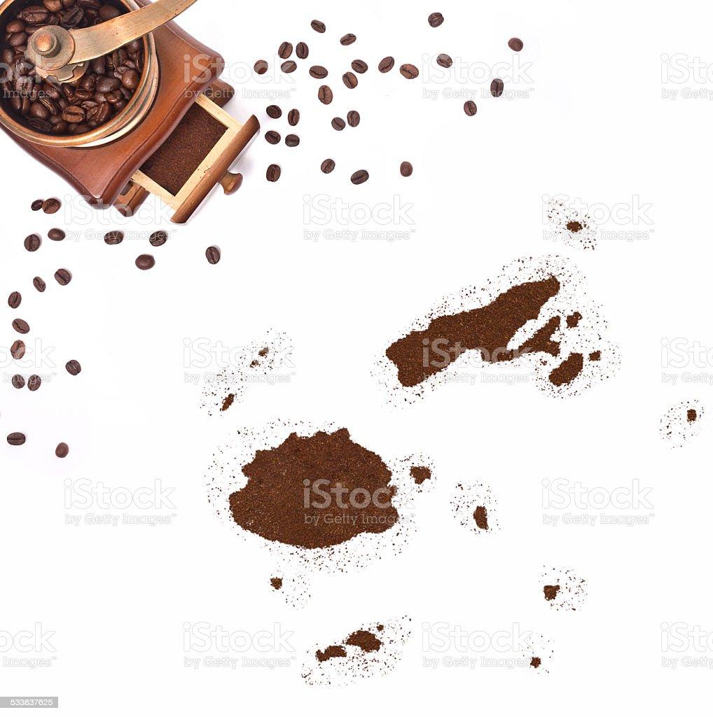 Coffee powder in the shape of Fiji.(series) stock photo
