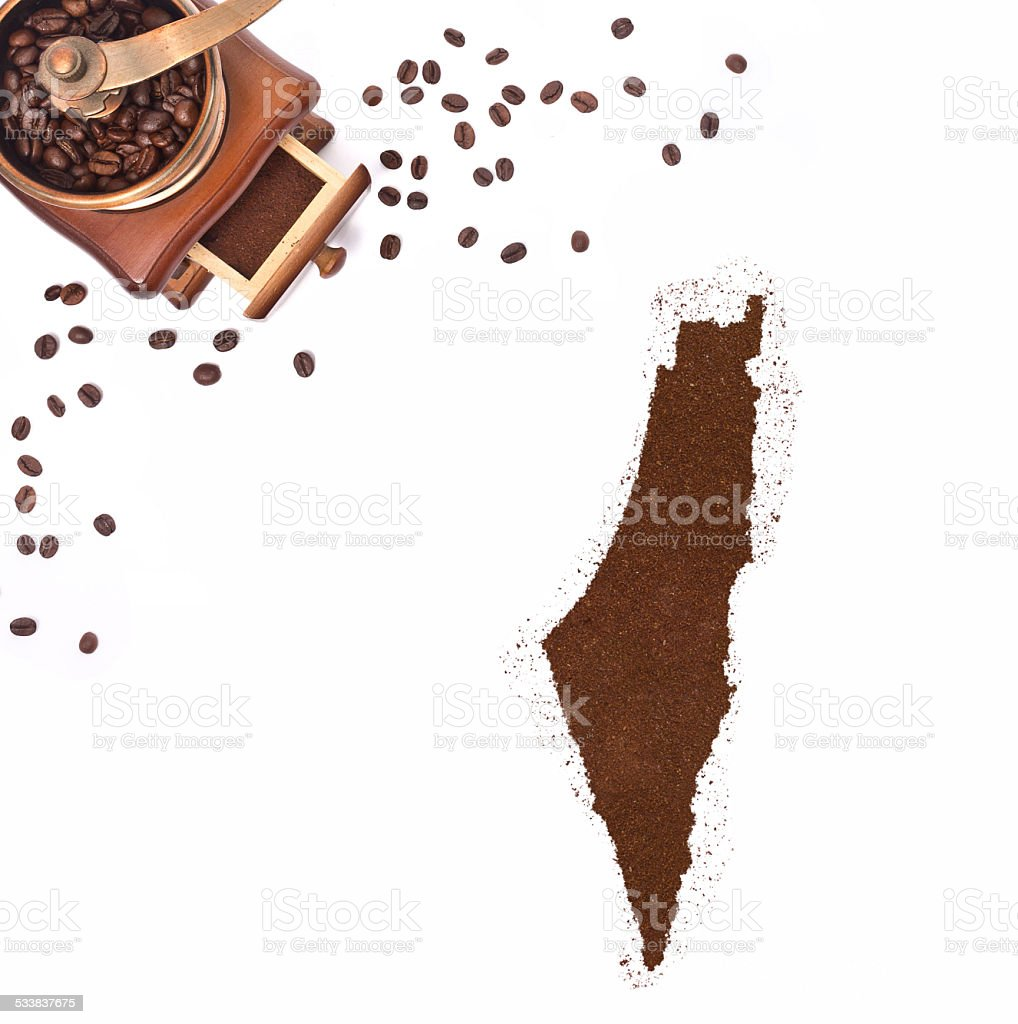 Coffee powder in the shape of Israel.(series) stock photo