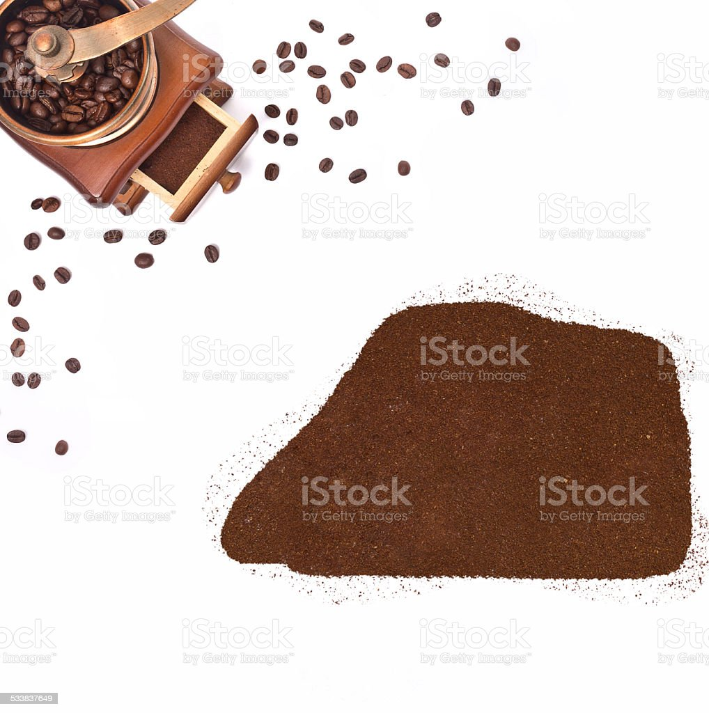 Coffee powder in the shape of Jarvis Island.(series) stock photo