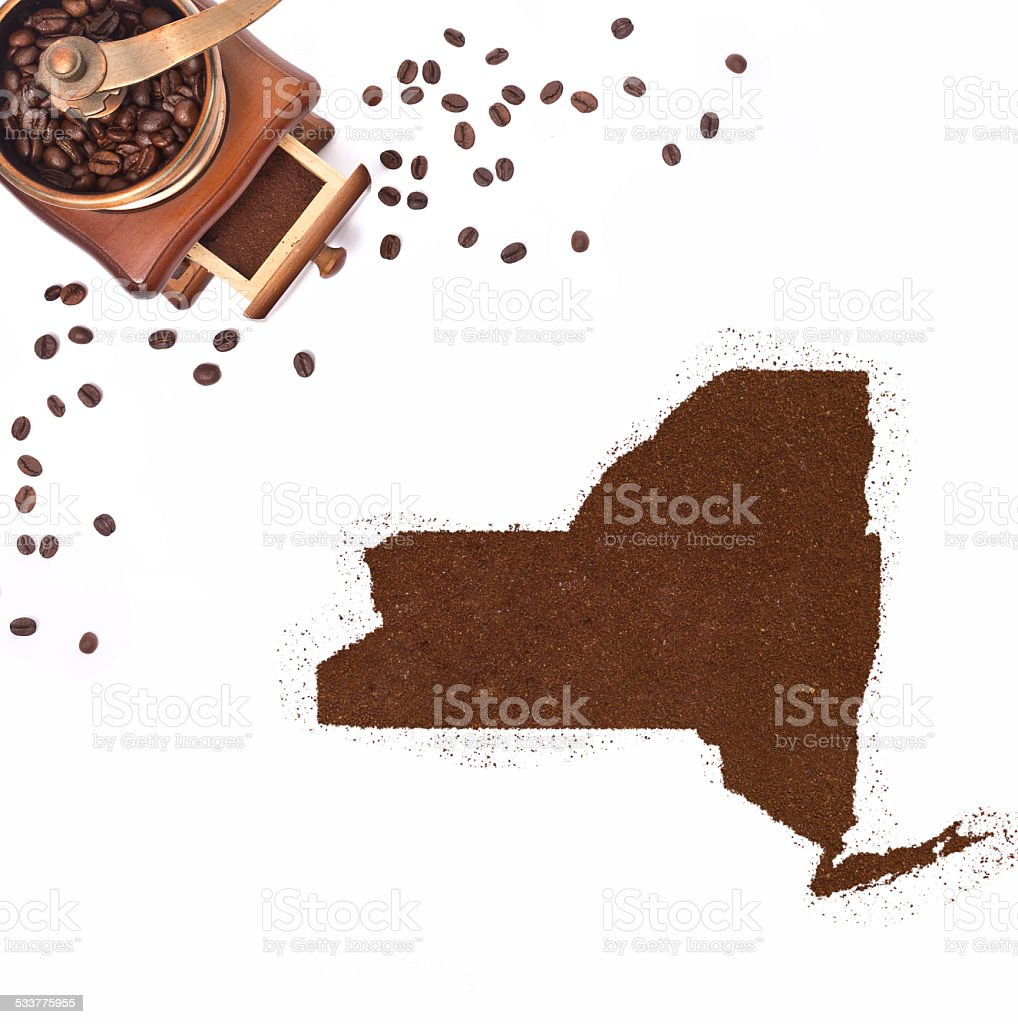 Coffee powder in the shape of New York.(series) stock photo