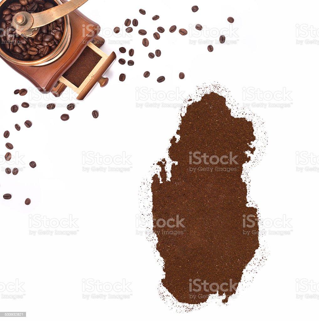 Coffee powder in the shape of Qatar.(series) stock photo