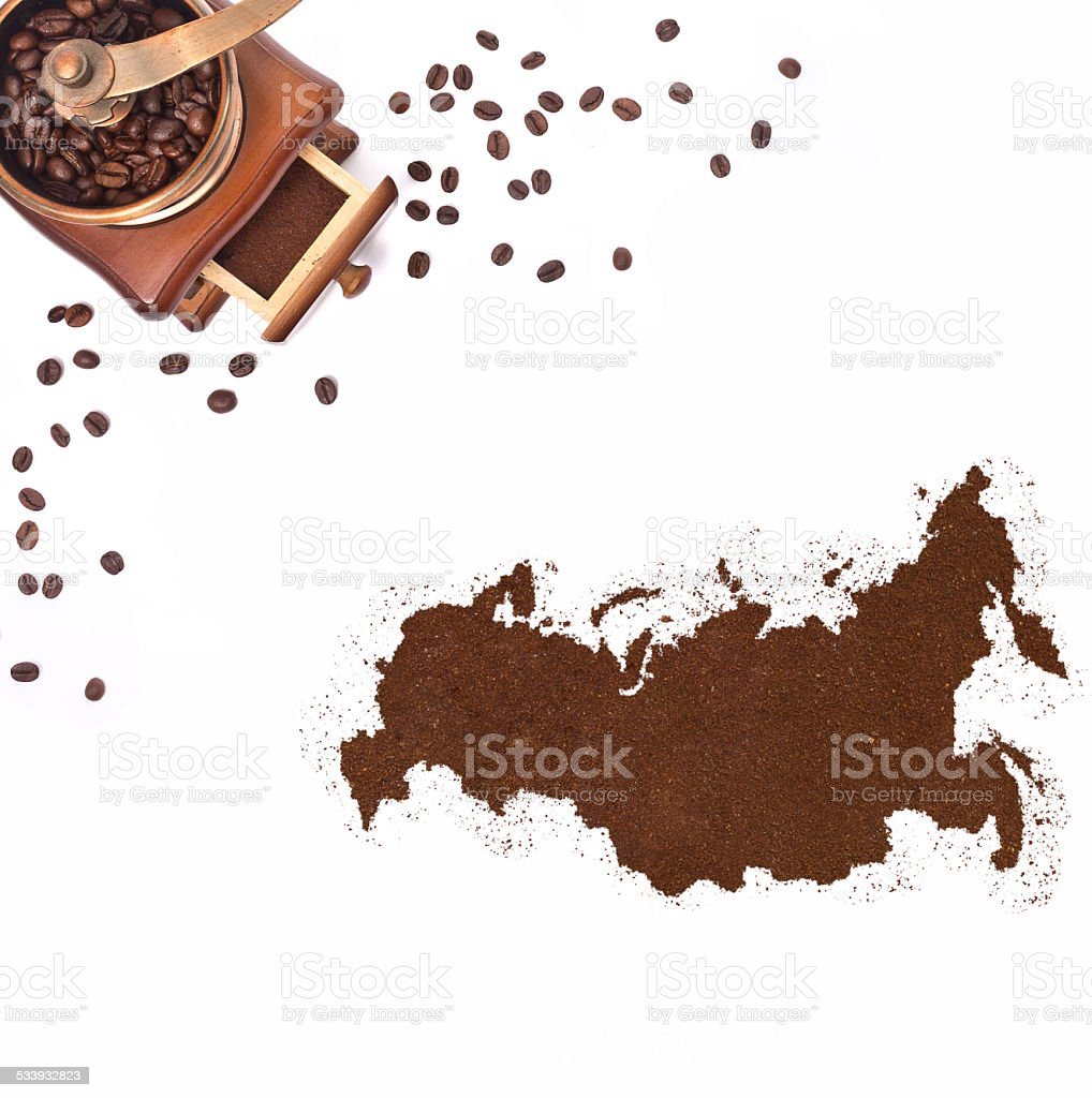 Coffee powder in the shape of Russia.(series) stock photo
