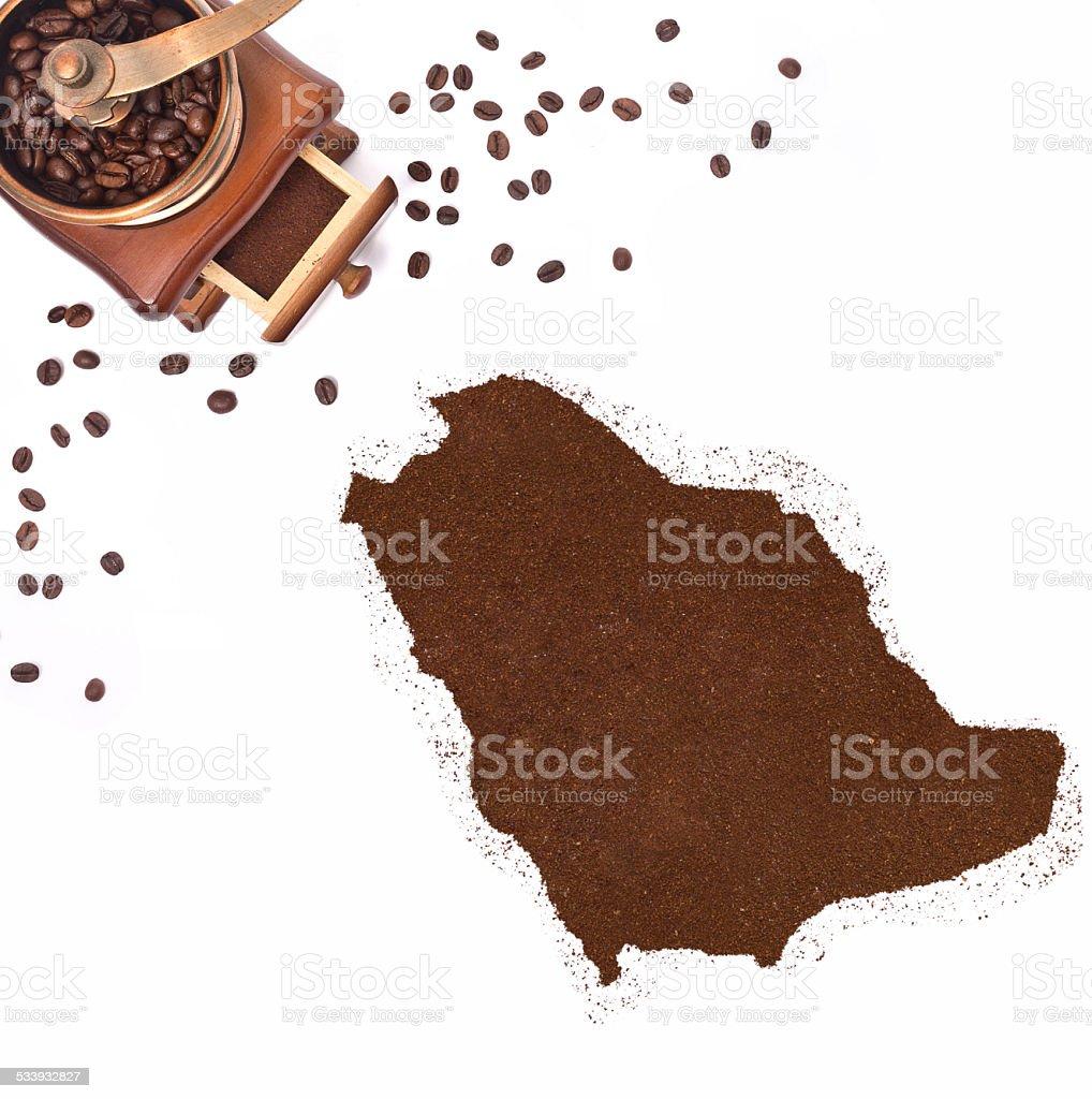 Coffee powder in the shape of Saudi Arabia.(series) stock photo