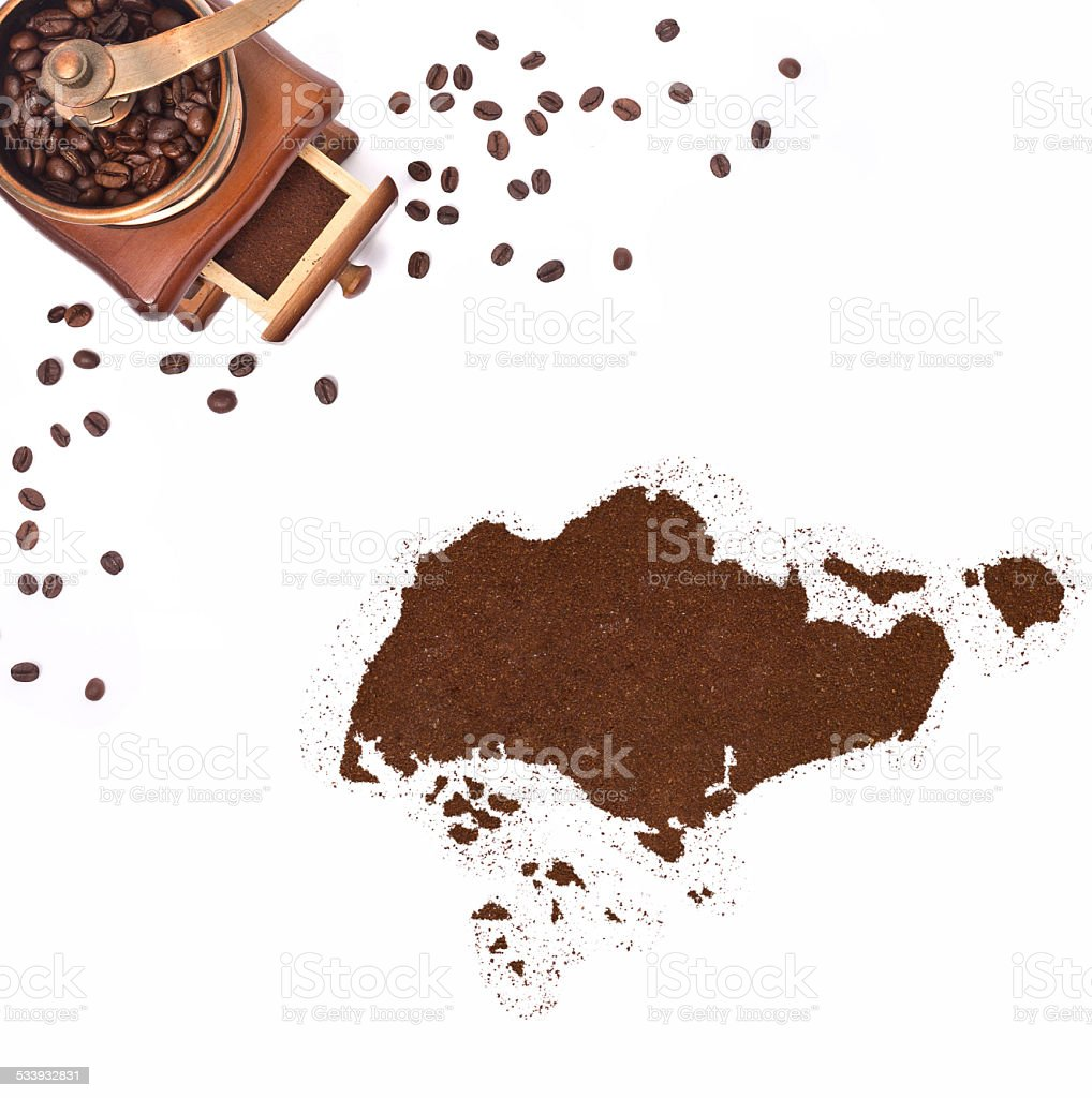 Coffee powder in the shape of Singapore.(series) stock photo