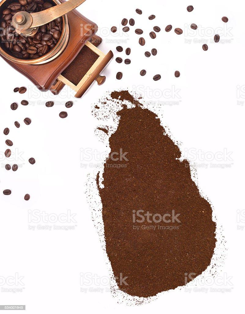 Coffee powder in the shape of Sri Lanka.(series) stock photo