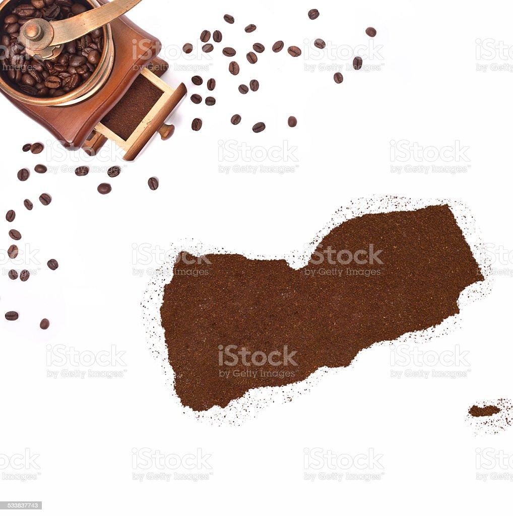 Coffee powder in the shape of Yemen.(series) stock photo
