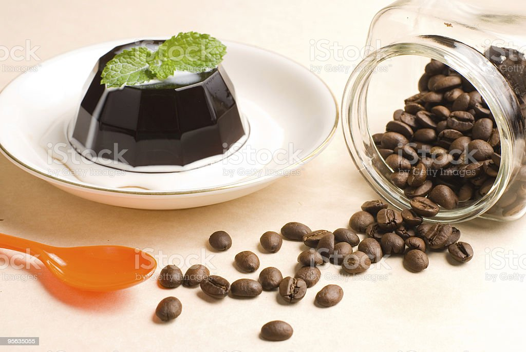 coffee pudding and beans royalty-free stock photo