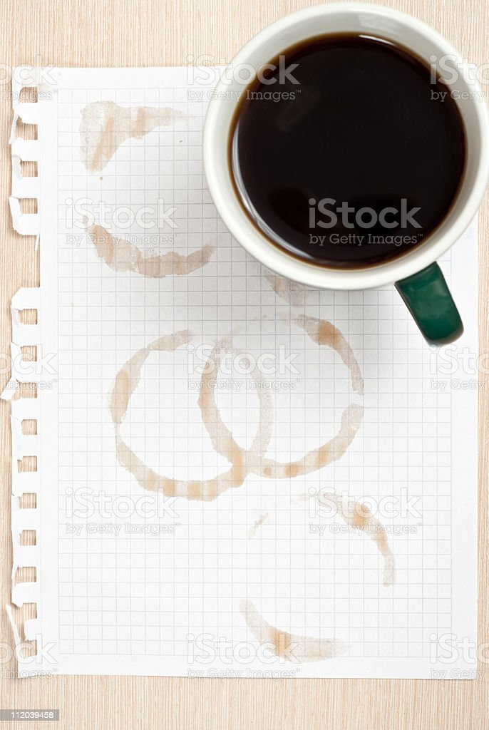 Coffee ring on paper royalty-free stock photo