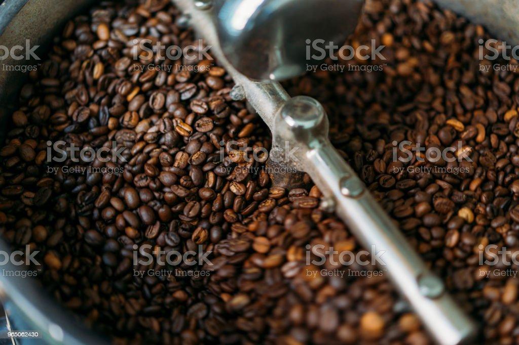 Coffee Roaster Cooling Batch of Beans zbiór zdjęć royalty-free