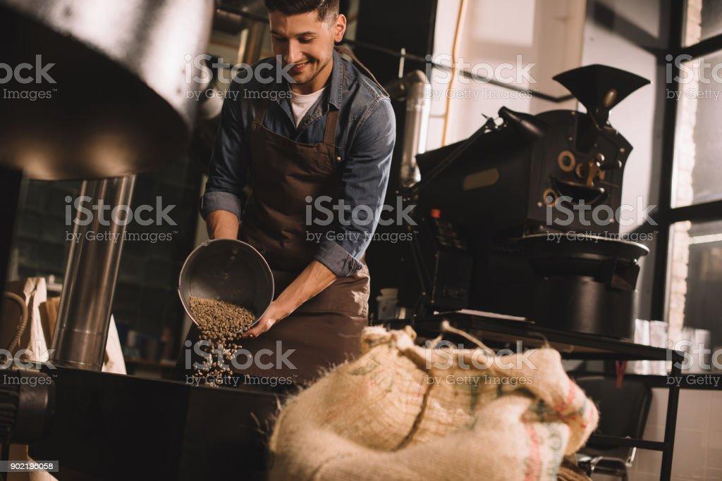 coffee roaster pouring coffee beans into roasting machine stock photo