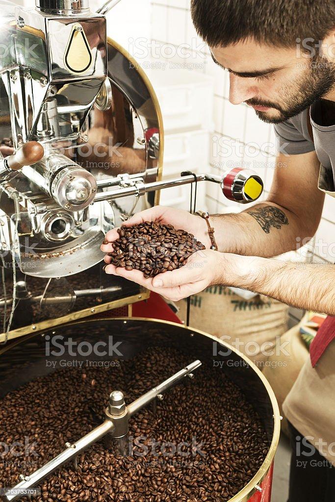 Coffee roasting process stock photo