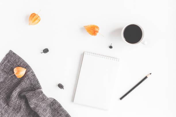coffee, scarf, notebook, autumn flowers. flat lay, top view - folha de caderno imagens e fotografias de stock