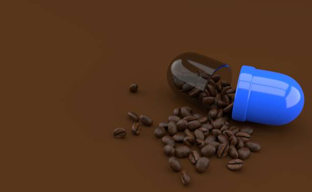 Coffee seeds inside pill Coffee seed inside pill isolated on brown background. 3d illustration caffeine stock pictures, royalty-free photos & images