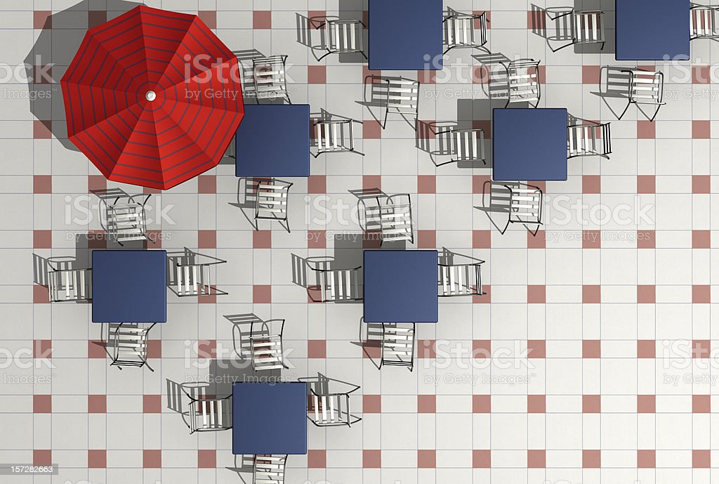 coffee shop 2- aerial view - render royalty-free stock photo