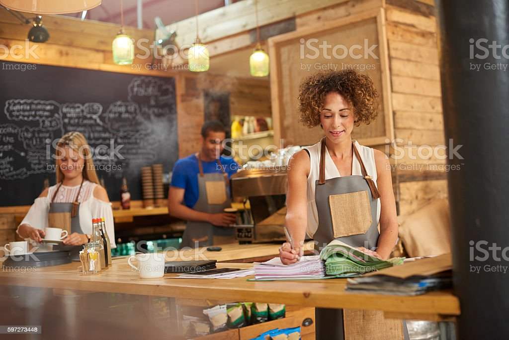 Coffee shop accounting royalty-free stock photo