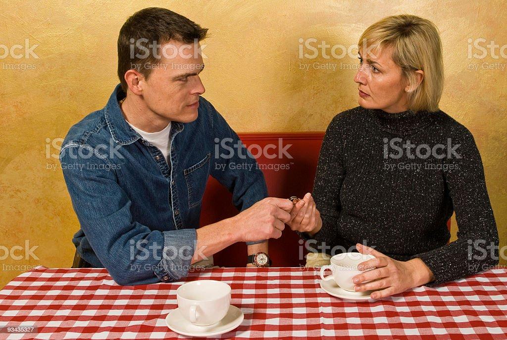 Coffee Shop Break Up stock photo