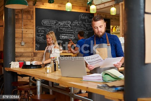 istock Coffee shop business bills 579132544