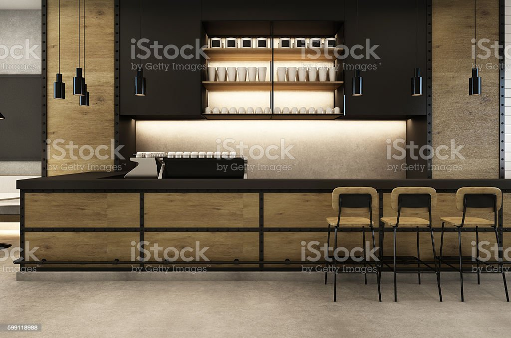 Coffee Shop cafe Loft & Modern - 3D render stock photo