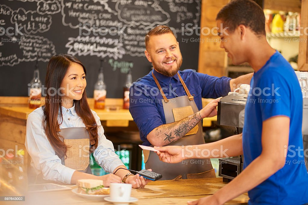 coffee shop contactless payment stock photo