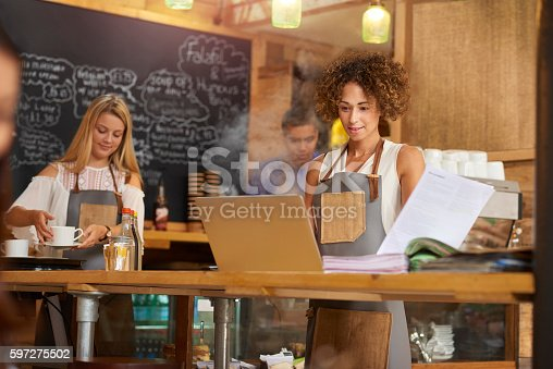 istock Coffee shop manager 597275502