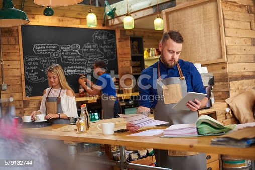istock Coffee shop online accounts 579132744