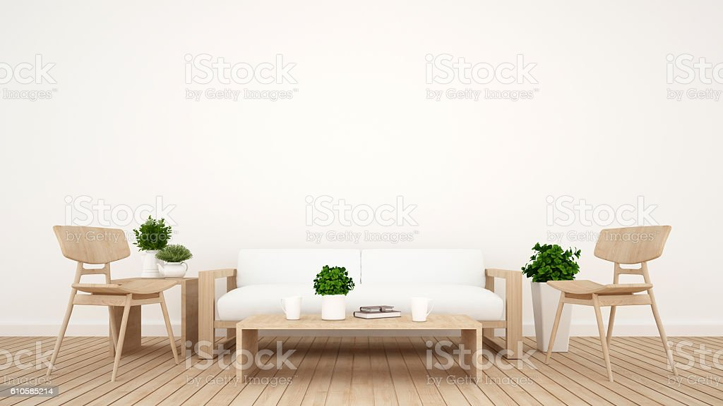 Coffee shop or living room - 3D Rendering stock photo