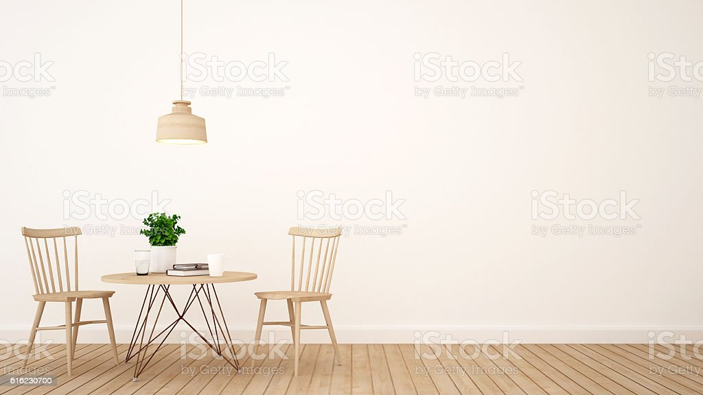 coffee shop or restaurant minimal design - 3D Rendering stock photo