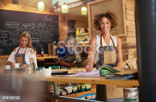 istock Coffee shop owner 579133120