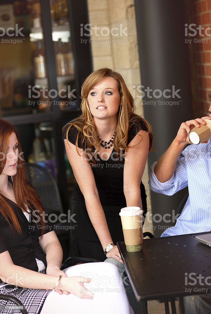 coffee shop scene - teen women young adult male royalty-free stock photo