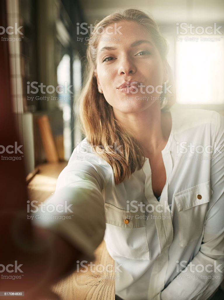 Coffee shop selfies stock photo