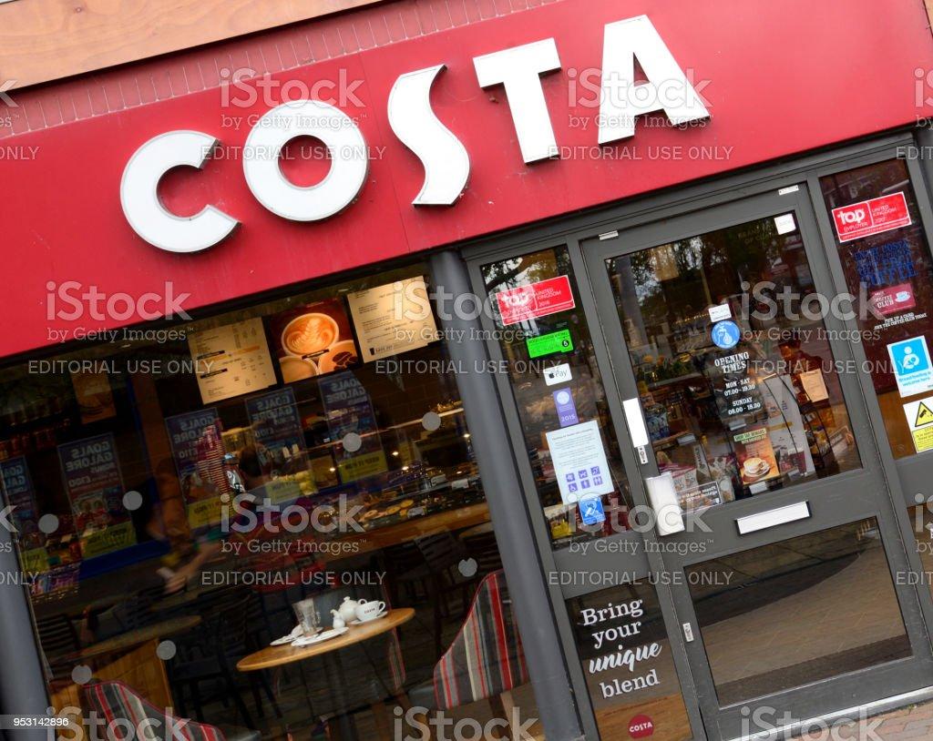 COSTA Coffee Shop with logo stock photo