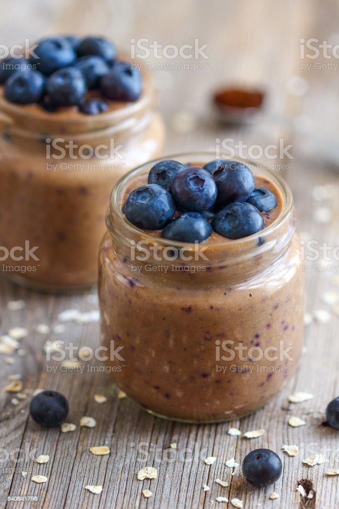 Coffee Smoothie with Blueberries stock photo