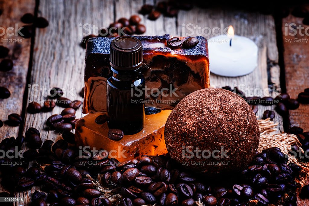 Coffee spa: soap, oil, salt, candles stock photo
