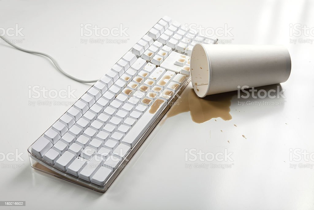 Coffee Spill on Keyboard royalty-free stock photo