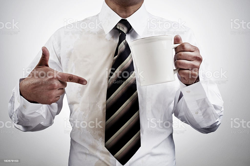 Coffee spilled on shirt royalty-free stock photo