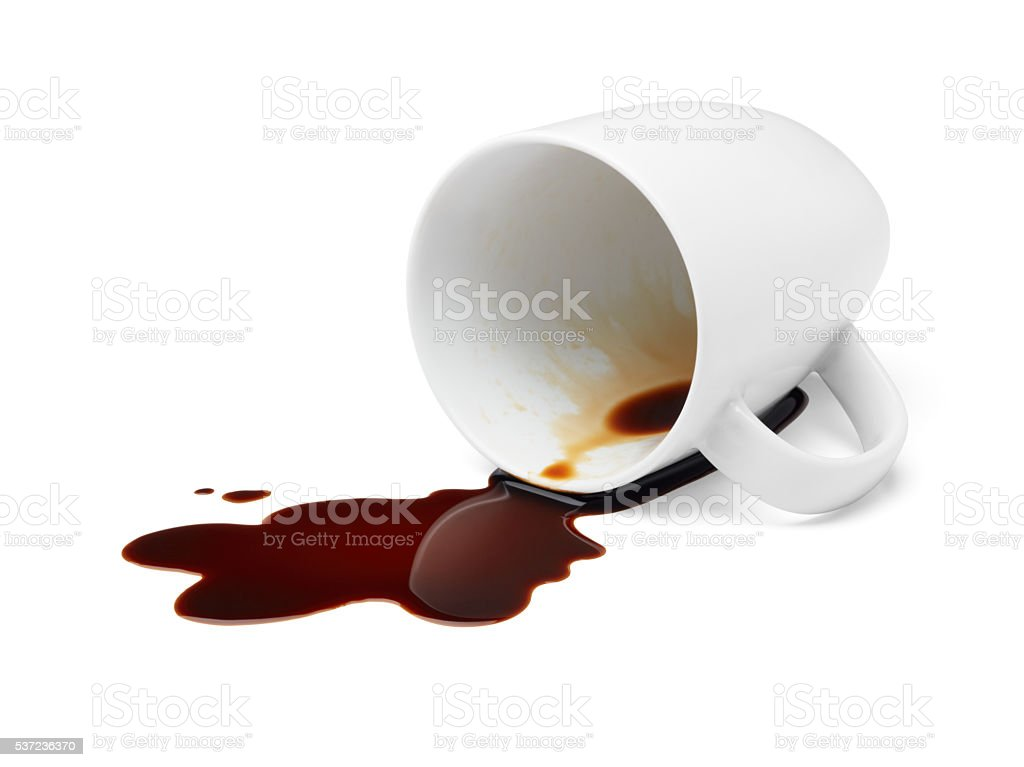 coffee spilling stock photo