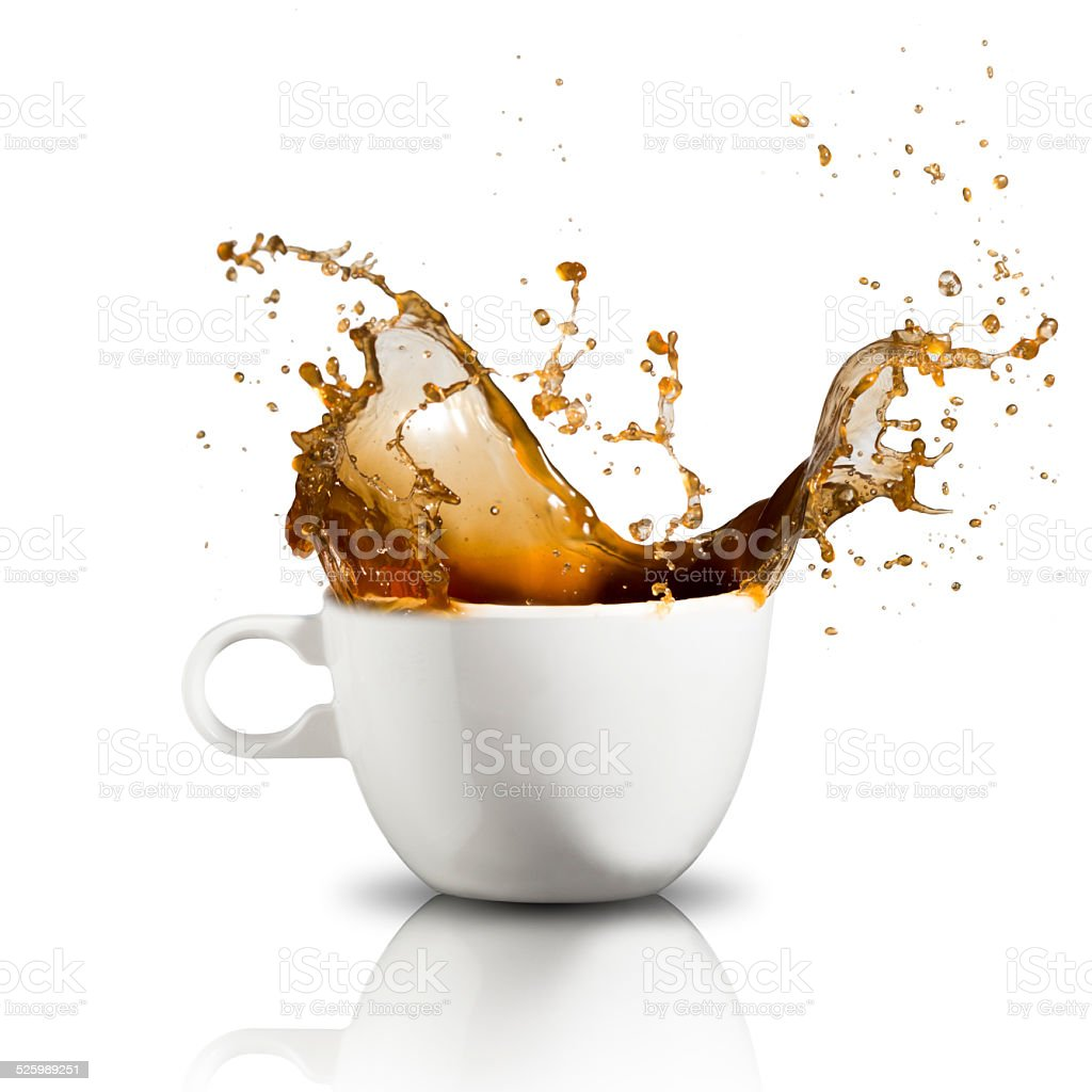 Coffee Splash on Glass stock photo