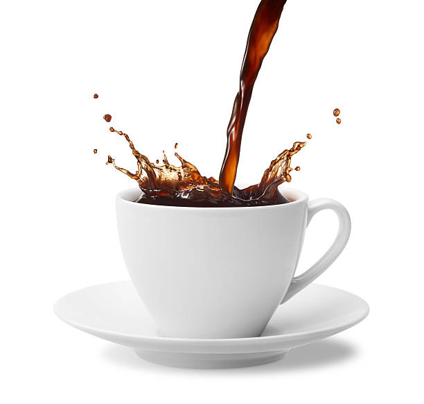 coffee splash pouring a cup of coffee creating splash pouring stock pictures, royalty-free photos & images
