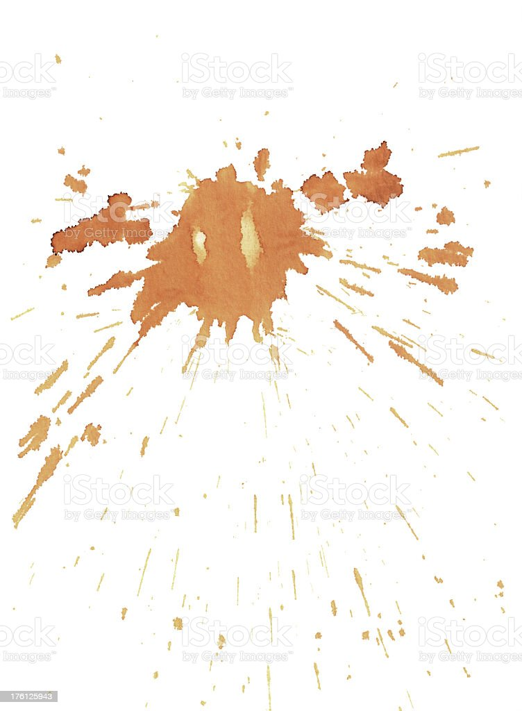 Coffee splat on white background royalty-free stock photo