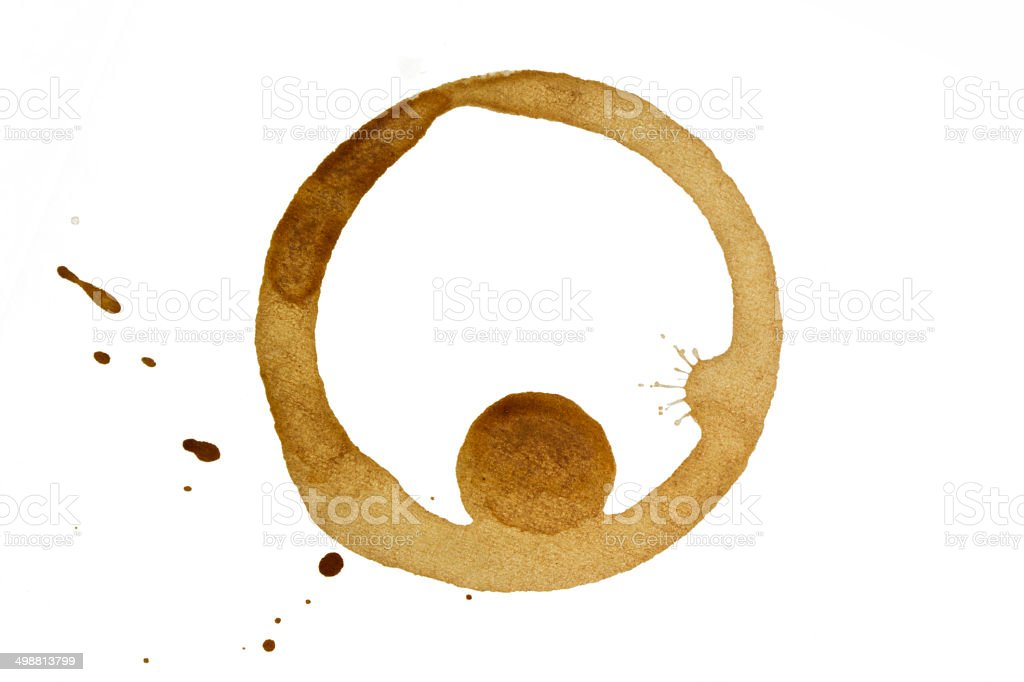 Coffee stain on paper with a drop royalty-free stock photo
